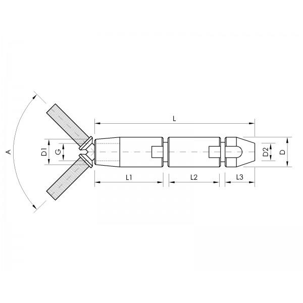 Croquis Terminal apriete rápido articulado C-4mm