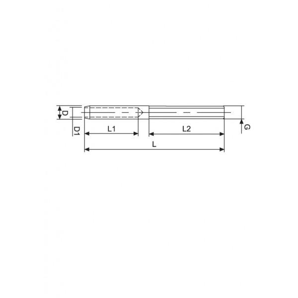 Croquis Tensor cable 4mm rosca externa izquierda M6