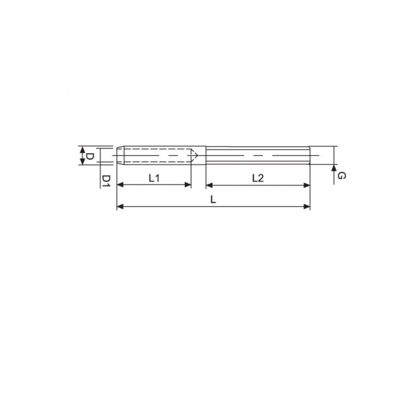 Croquis Terminal cable 5mm rosca externa izquierda M6