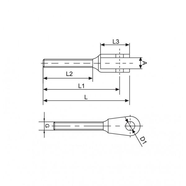 Croquis Terminal horquilla rosca externa derecha M8