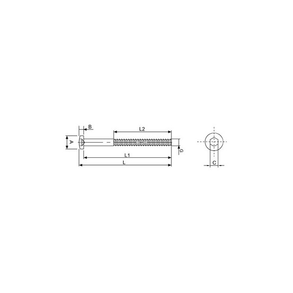 Croquis Terminal rosca externa izquierda M8