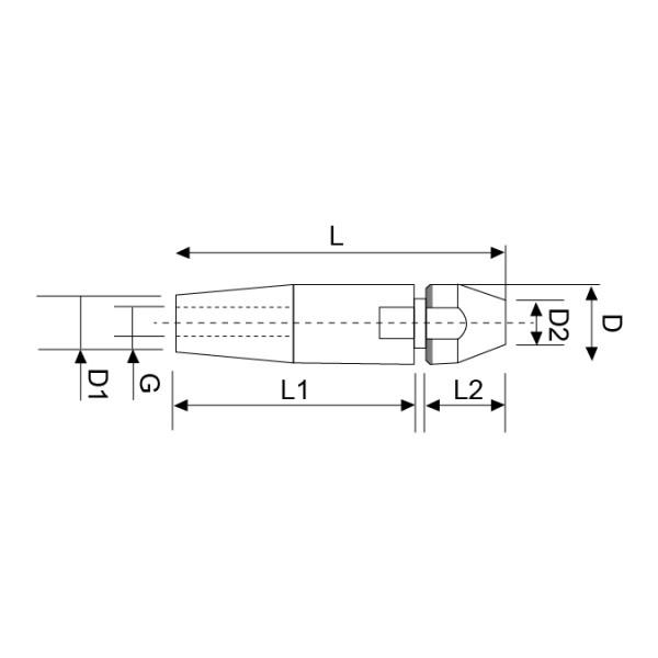 Croquis Terminal apriete rápido rosca interna izquierda C-10mm M10 inox 316